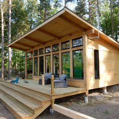 Timber Window Frames, Timber Frame Cabin, Timber Windows, Modern Tiny House, Tiny House Cabin, Tiny House Design, Shed Cabin, Tiny Cabins, Cottage Design
