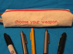 Choose Your Weapon Zippered Pencil Pouch by NausicaaDistribution - great for crochet hooks!
