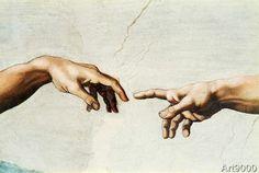 Michelangelo Buonarroti - The creation of Adam (74,0 x 50,0 cm)