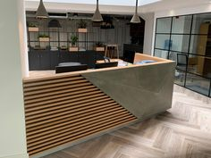 Space, a leading design office company comissioned Living Concrete to create bespoke concrete-cladded reception desk for a workspace in Reception Counter Design, Hotel Reception Desk, Office Reception Design, Modern Reception Desk, Office Table Design, Reception Areas, Wedding Reception, Clinic Interior Design, Design Salon