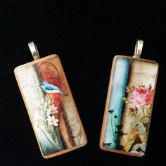 Bamboo Tile Pendants Wearable Art Very light-weight and would make a unique gift idea for any occasion. Not waterproof. $22 for both or $12 each. Jewelry