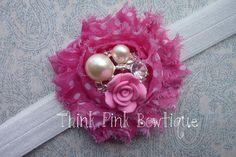 Baby headband, flower headband, headband, shabby chic roses headband. $5.95, via Etsy.