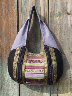 """Купить Сумка-хобо""""Восточная ночь""""(этно,бохо) - черный, орнамент, пейсли, восточный стиль, этно, бохо"""