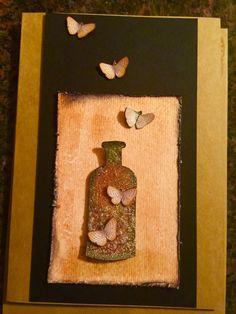Handmade birthday card. Bottle made from Tim holtz apocathary dies.