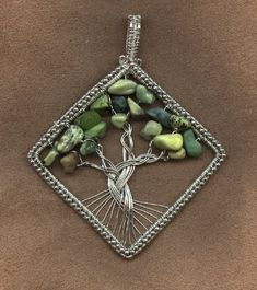 **Silver and Crystals and Beads, Oh My! - Diamond-shaped tree of life by ozbekfiliz
