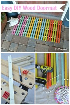 This DIY wood doormat is so easy to make and is a great one-day project.