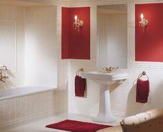 Rot Weiß Badezimmer Einrichtung Fliesen Modern