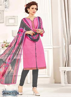Dashing Pink Coloured Cotton Unstitched Salwar Suit