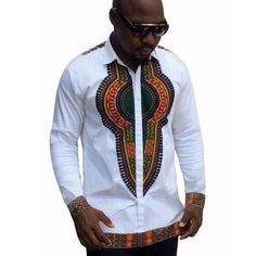 Traditional Bazin Riche African Style Printed T-shirts Long Sleeve Dashiki Shirt Dashiki Shirt, African Fashion Designers, African Men Fashion, Africa Fashion, Tribal Shirt, Dashiki For Men, African Dashiki, African Dresses Men, Shopping