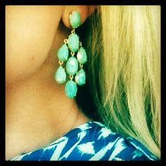 stella & dot aqua chandelier earrings, $39. shop now or repin for a chance to win http://www.stelladot.com/denikaclay