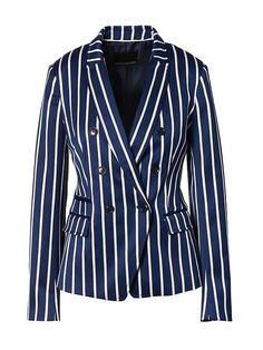 Banana Republic Womens Double-Breasted Fit Stripe Blazer Blue Stripe