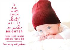 Celebrate your bundle of joy's first Christmas with a special holiday photo greeting card. Shop Less Calm More Bright Holiday Birth Announcements by Kaydi Bishop at minted.com