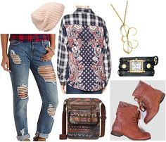 Plaid, lace cami, colored denim, boots, mismatched socks, watch or clock necklace, crazy hat