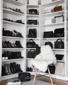 51 Bag Closet Ideas for Women - decortip Bag Closet, Wardrobe Closet, Closet Bedroom, Bedroom Decor, Closet Clothing, Master Closet, Closet Vanity, Glam Room, Luxury Closet