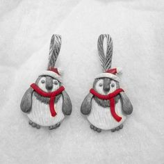 set of 2 cute penguin ornaments  Christmas tree by Wishcraft2013, £4.50