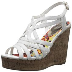 Madden Girl Womens Enroll Wedge Sandal White Paris 9 M US * Click on the image for additional details.