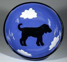 Small Blue Bowl With Dog: Alison Palmer: Ceramic Bowl - Artful Home