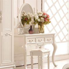 Dans la commode de maquillage de table en bois massif d'Ivoire Princesse de table de toilette coréen de maquillage de table