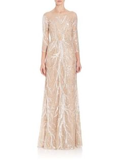 David Meister - Three-Quarter Sleeve Embroidered Sequin Gown