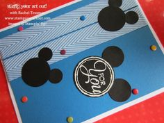 Stampin' Up!'s Chalk Talk stamp set and circle punches to make Mickey Mouse card - Stamp Your Art Out!