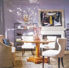 I'm thinking of replacing a bookcase of pictures in my foyer with a table like this. Love the flowing branches and oversized vase and generally everything about how this table looks. Purple Rooms, Purple Walls, Grey Walls, Decorating Blogs, Decorating Your Home, Grey Wall Color, Wall Colours, Colors, Vase With Branches