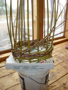 Two Red Threads: Willow Trellises -- Functional And Fun pizza box jig, Diy Trellis, Garden Trellis, Willow Weaving, Basket Weaving, Garden Crafts, Garden Projects, Grape Vine Trellis, Basket Willow, Willow Furniture