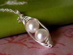 Customized Pea Pod necklace with freshwater pearls for mom! Original design by Mu-Yin Jewelry (aka muyinmolly on Etsy)