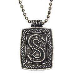 Pewter Loki of Urnes Viking Snakes Carving Pendant Necklace