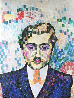 Pointillism - Robert Delaunay, Portrait de Metzinger, oil on canvas, 55 x 43 cm Georges Seurat, Georges Braque, Maurice Utrillo, Robert Delaunay, Sonia Delaunay, Art Et Illustration, Post Impressionism, Art Moderne, French Artists