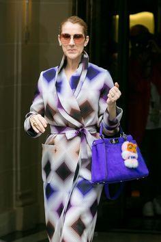 Celine Dion in a Fendi coat and bag.