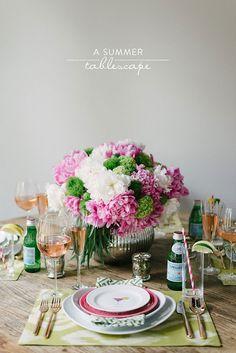 table settings, summer centerpieces, summer tablescap, summer dinners, summer parties, dinner parties, entertain, tabl set, flower