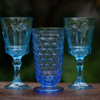 Vintage Blue Colored Glass Goblets really add some character to your wedding reception tables! Dixie Does Vintage Rentals in Dallas TX
