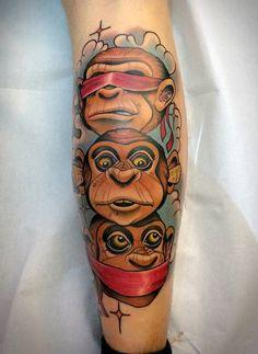 New school monkey tattoo. Pretty awesome