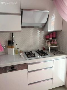 Ankastre, Beyaz mutfak, Modern mutfak, Mutfak aksesuar, Pembe
