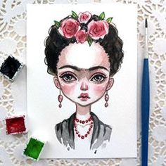 Frida Sold out - Art - Realistic Pencil Drawings, Animal Drawings, Art Drawings, Disney Kunst, Disney Art, Art And Illustration, Watercolor Artists, Watercolor Paintings, Frida Art
