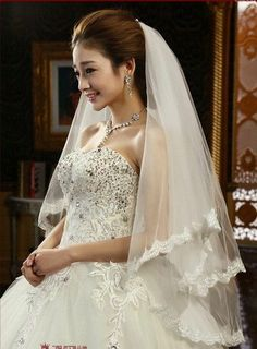 NEW 2 layer ivory Wedding dress Bridal Veil Lace with comb