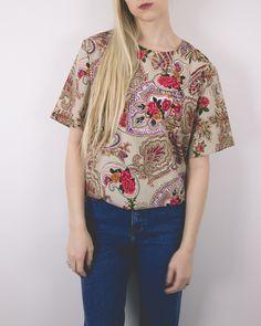 Vintage 80s Floral Short Sleeve Blouse