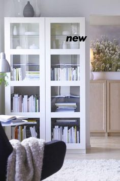 ikea besta storage combo with glass doors upright - in white: I imagine this doubled, side-by-side, so that I could display my empoli glass collection.