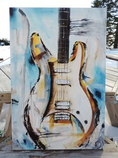 Guitar Painting Blue Abstract Painting by heatherdaypaintings