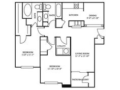 A two bed floor plan at River Stone Ranch - Austin Apartments 512-229-1793