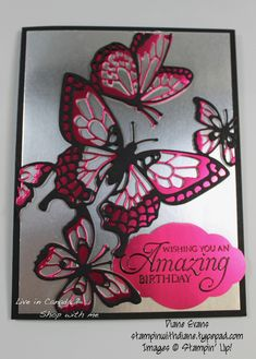 Mixed the 2019 Occasions Beauty Abounds (Butterfly Beauty Thinlits) Bundle with the free 2019 SAB item Grapefruit & Lovely Lipstick Foil Sheets. Butterfly Cards, Butterfly Template, Butterfly Dragon, Paper Butterflies, Monarch Butterfly, Happpy Birthday, Alcohol Ink Crafts, Bee Cards, Stampin Up Catalog