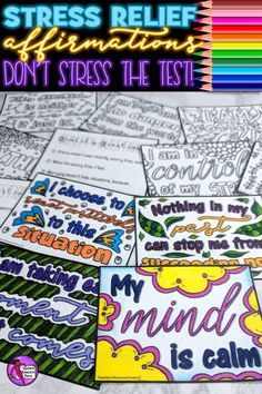 Stress relief and stress management affirmation cards for teachers and teens - color in, reflect and really believe with these 10 coloring affirmation cards! Stress Management Activities, Growth Mindset Activities, Time Activities, Classroom Management, Teaching Character, Character Education, Character Development, Personal Development, Deal With Anxiety
