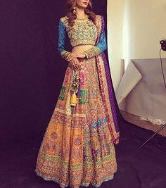 "2,082 Likes, 20 Comments - The Pakistani Bride (@thepakistanibride) on Instagram: ""How gorgeous is this bright lehenga choli by @mahvishfarid?! ✨ #thepakistanibride"""
