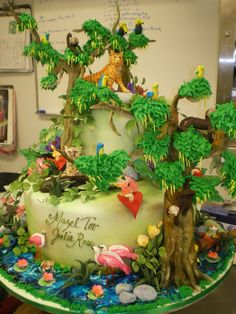 Fun cake ideas for boy's birthday party are robot or cartoon. You can ask your cake shop to make this wonderful cake or you can just go to the kitchen Pretty Cakes, Beautiful Cakes, Amazing Cakes, Cupcakes, Cupcake Cakes, Jungle Cake, Jungle Party, Jungle Safari, Africa Cake