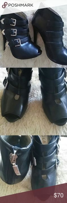 Guess Ankle Boot Heels Stunning Black Guess peep toe booties. Worn out once. Size: 5.5. Feel free to ask any questions! Guess Shoes Heeled Boots