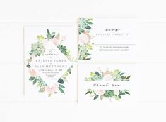 Succulent Wedding Invitation Printable Modern Wedding Suite