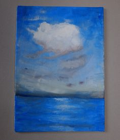 Seascape Painting, Small Art, Oil Paint Canvas Artwork, Original, Blue White Cloud, Small Oil Painting, Impressionist Painting, Blue Art by SusanGisborne on Etsy
