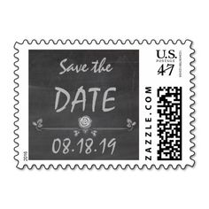 Wedding Save the Date Vintage Chalkboard Postage