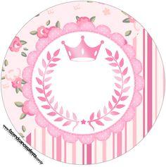 Rótulo redondo Coroa de Princesa Rosa Floral