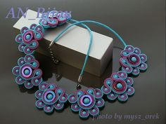 Elegant heather turquoise necklace Soutache. by ANBijou on Etsy